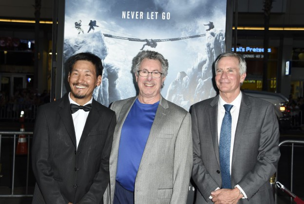 "Dr Beck Weathers (C), who survived a Mount Everest expedition, Mount Everest guide Ang Phula Sherpa (L), and US mountaineer and filmmaker David Breashears (R) attend the premiere of Universal Pictures' ""Everest,""  September 9, 2015 at the TCL Chinese Theatre in Hollywood, California. AFP PHOTO / ROBYN BECK        (Photo credit should read ROBYN BECK/AFP/Getty Images)"